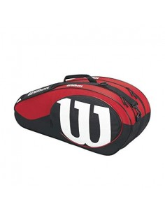 Raquetero Wilson Match II  X6 Bag  Black/Red